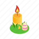 burn, candle, celebration, easter, egg, holiday, isometric icon