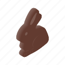 bunny, chocolate, cute, easter, isometric, rabbit, spring icon