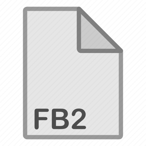 ebook, extension, fb2, file, format, hovytech, type icon