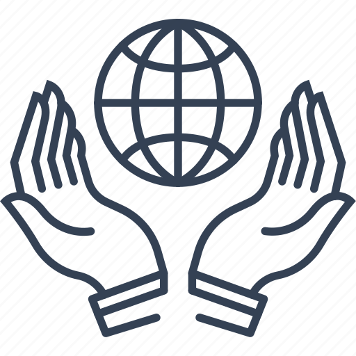 bio, eco, hands, world icon