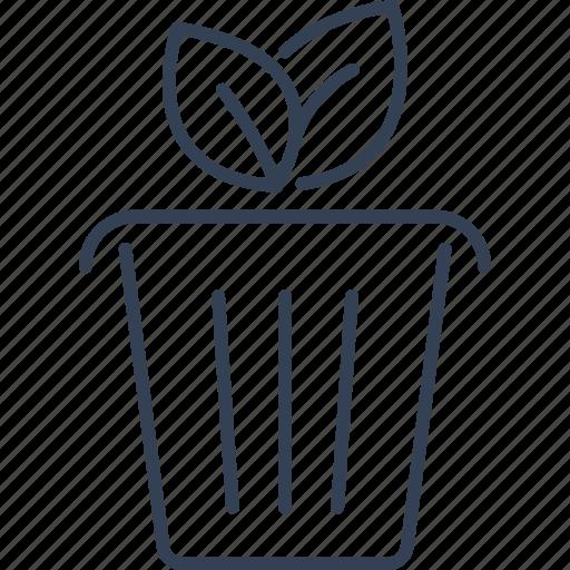 bio, eco, flower, pot icon