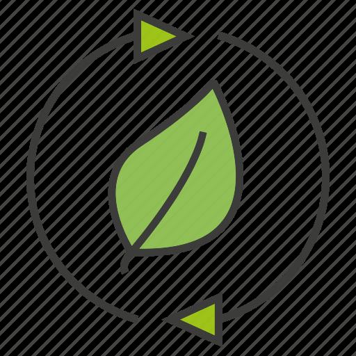 arrow, energy, go green, guardar, leaf, renew, reuse, save icon