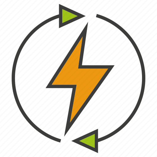 arrow, bolt, electricity, energy, power, renew, thunderbolt icon