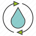 arrow, drop, energy, guardar, renew, save, water icon