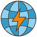 bolt, electricity, energy, globe, power, thunderbolt, world icon