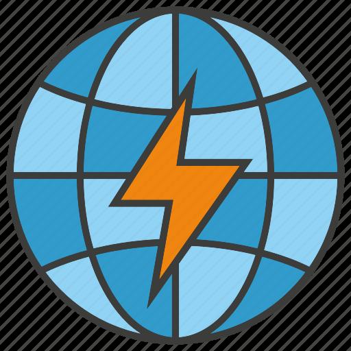 bolt, electricity, energy, globe, power, thunderbolt, world icon