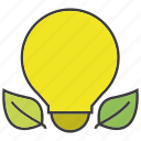 bulb, creative, eco, idea, leaf, light icon