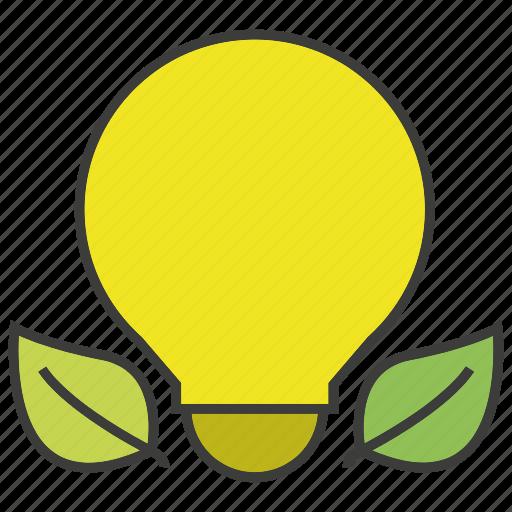 bulb, creative, eco, idea, leaf, light icon