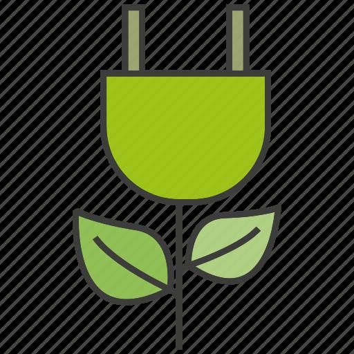 eco, electricity, go green, guardar, leaf, plug, save icon