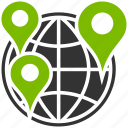 flag, globe, gps, map pointers, navigation, pin, travel route icon