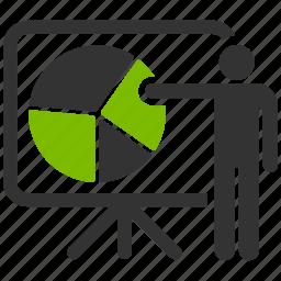 conference, meeting, presentation, report, sales chart, school teacher, training icon