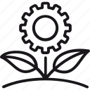eco, ecology, environment, flower, gear, green, technology icon