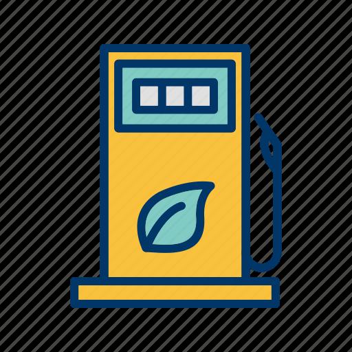 eco fuel, eco gas, eco station, petrol station icon