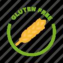 bio, celiac, food, gluten free, label icon