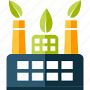 eco, ecology, factory, green, nature icon