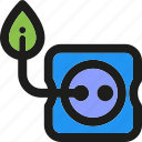 eco, ecology, enviroment, green, nature, power, socket icon