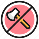 deforestation, axe, forbidden