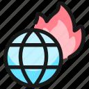 global, warming, globe, fire