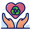 care, ecology, environmental, love, natural, recycle icon