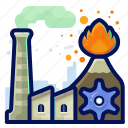 ecology, environmental, factory, industry, natural, volcano icon