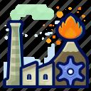 ecology, environmental, factory, industry, natural, volcano