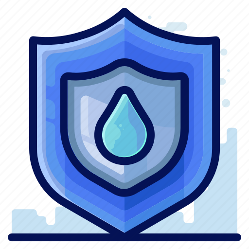 ecology, environmental, natural, protect, shield, water icon