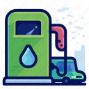 ecology, environmental, fuel, natural, vehicle, water icon