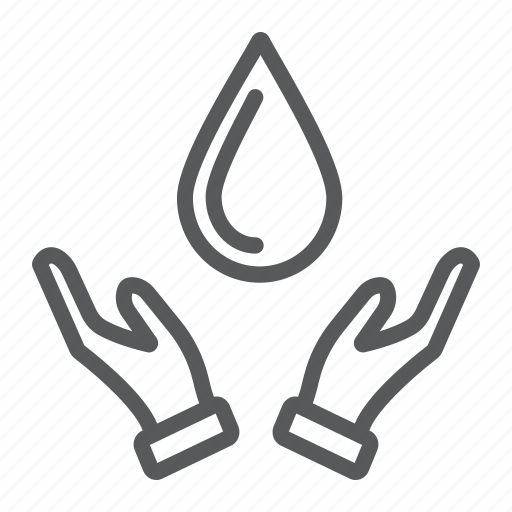 drop, eco, hand, nature, save, water icon