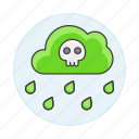 acid, cloud, danger, ecology, green, harmful, polluted, pollution, rain, skull, water icon