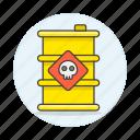 barrel, chemical, danger, dead, ecology, harmful, pollutant, pollution, skull, substance icon