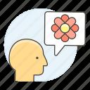 2, awareness, bubble, care, ecology, envirionmental, flower, head, speech, talk icon