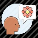 3, awareness, bubble, care, ecology, envirionmental, flower, head, speech, talk icon