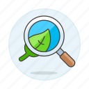analysis, ecology, leaf, magnifier, plant, research, search, study icon