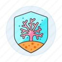 coral, ecology, fauna, life, marine, nature, protect, protection, sea, shield, wildlife icon