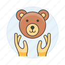 2, bear, ecology, face, fauna, hand, life, nature, protection, save, wildlife icon