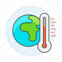 change, climate, ecology, global, heat, increase, temperature, thermometer, warming, world icon