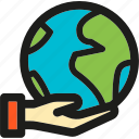 earth, ecology, enviroment, globe, green, hand, nature icon