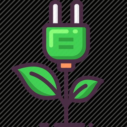 charging, electric, energy, green, leaf, plug icon