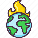 earth, eco, ecology, fire, global warming, save earth icon