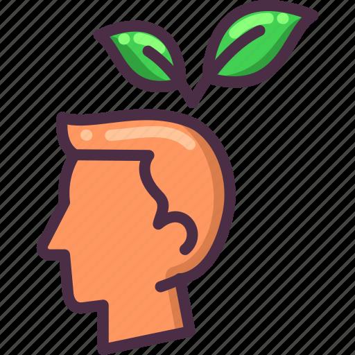 eco, ecology, green, head, leaf icon