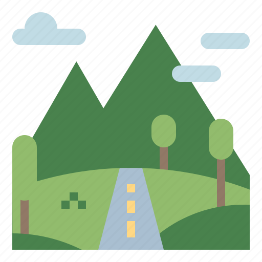 hills, mountain, nature, oxygen, trees icon