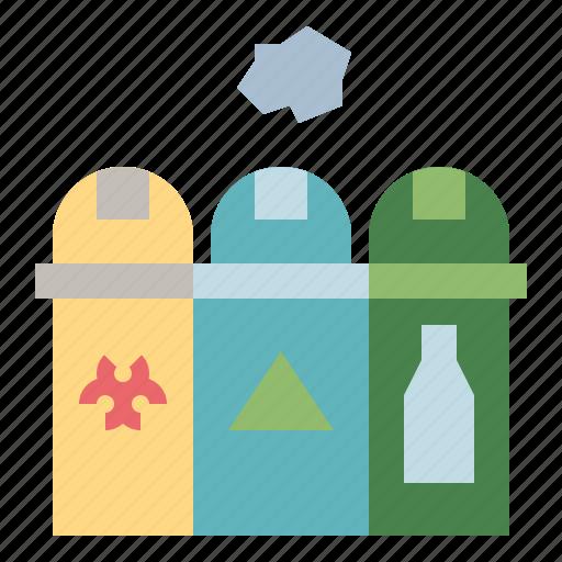 bin, environment, garbage, segregation, trash, waste icon