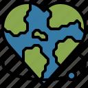 earth, globe, heart, love, shapes