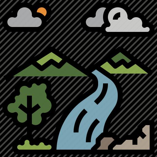 ecology, landscape, nature, scenery, waterfall icon