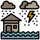 flood, home, nature, rain, weather icon