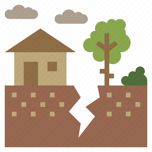 cracked, disaster, earthquake, ground, homes icon