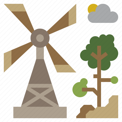 buildings, ecological, ecology, mill, nature icon