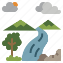 ecology, landscape, nature, scenery, waterfall icon