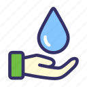 earth day, ecology, energy, hand, water icon
