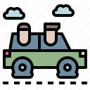 car, fuel, full, save, together icon